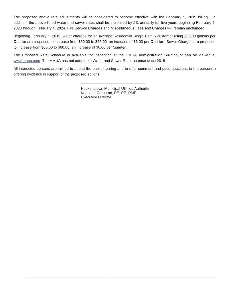HMUA Rate Hearing Notice - Jan 8, 2019